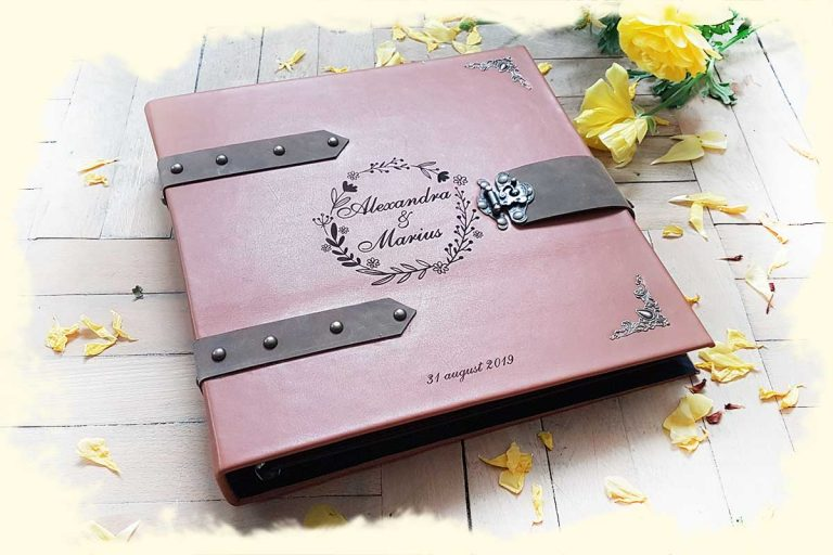 Premium Guestbook with engraved leather covers