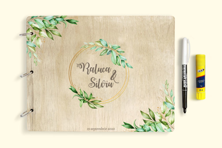 Guestbook for Wedding or Christening with wooden covers UV printed